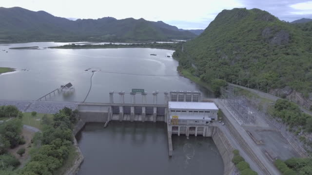Aerial view of Dam and Beautiful Lake video