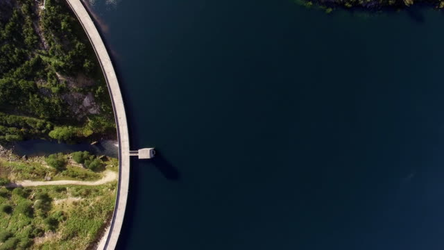 Aerial view of Dam of Vilarinho da Furna on Rio Homem, Portugal video