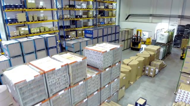 Aerial view of distribution storage warehouse video
