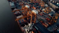 Aerial view of Docks and Shipping Containers video
