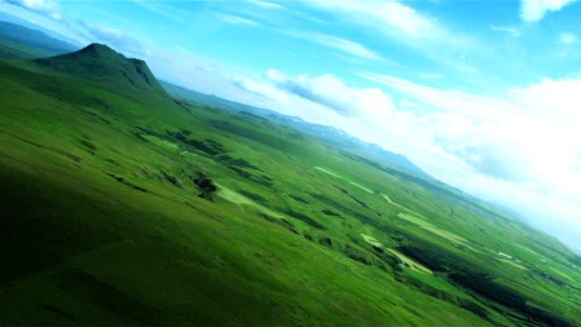 Aerial View of Dormant Volcanoes & Fertile Land, Iceland video