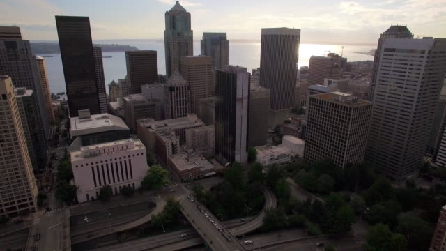 Aerial View of Downtown City Skyscraper Buildings with Water Background on Sunny Day video