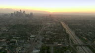 Aerial view of downtown Los Angeles at sunset video