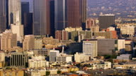 Aerial view of downtown Los Angeles buildings video