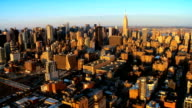 Aerial view of Downtown Manhattan at Sunset, NY, USA video