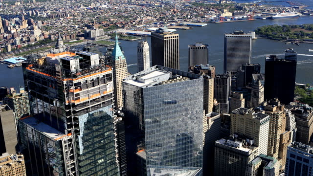 Aerial view of Downtown Manhattan video