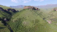 4K aerial view of Drakensburg mountain foothills video