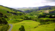 Aerial view of Dunedin Town and Grassland, New Zealand video