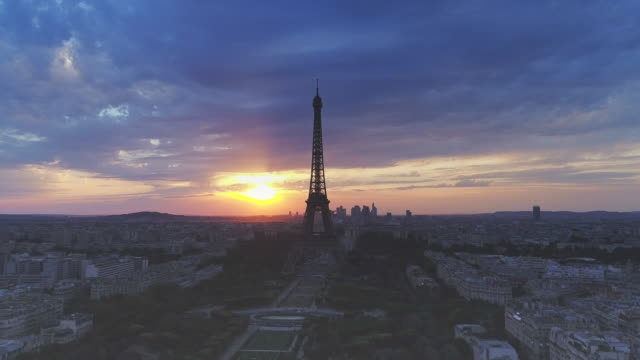 Aerial view of Eiffel tower during sunset, Paris video