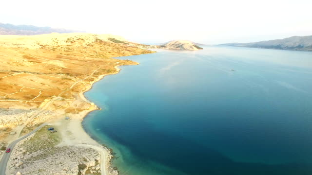 Aerial view of empty sand beach of Pag island, Croatia video