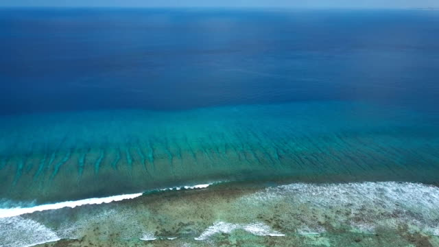 Aerial view of endless turquoise azure indian ocean swash and surfing waves video