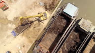 Aerial view of Excavator dredging on riverside construction video