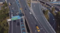Aerial view of expressway intersection video