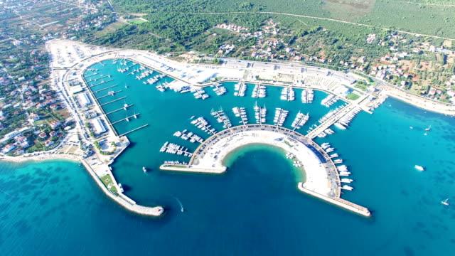 Aerial view of famous dalmatian yachting destination of Sukosan city, Croatia video