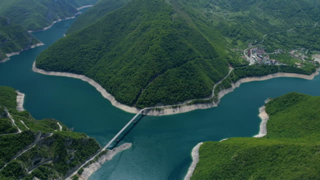 Aerial view of famous Piva Canyon with its fantastic reservoir video