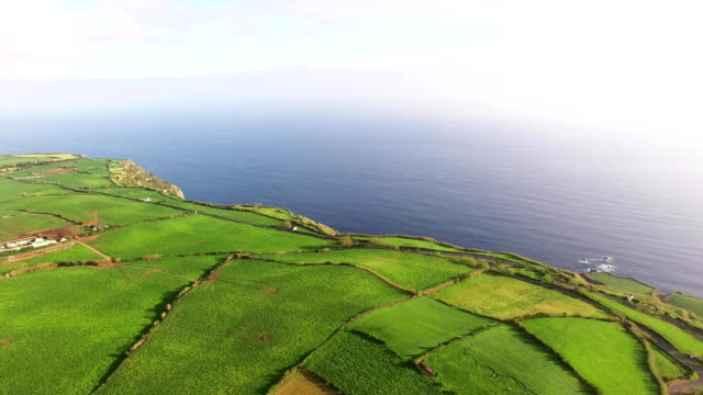 Aerial view of farm fields in the Sao Miguel Island in Azores, Portugal wide angle video