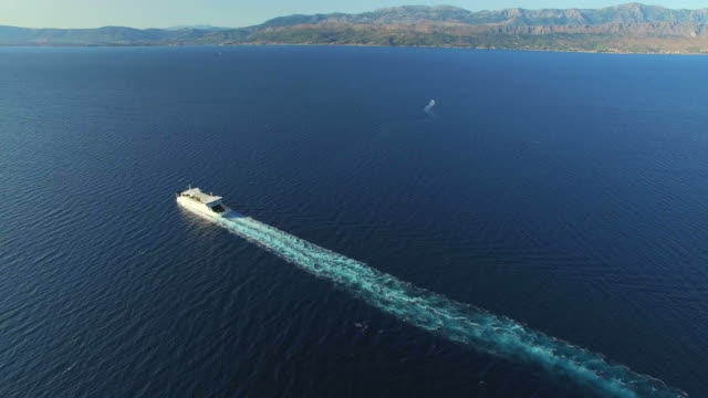 Aerial view of ferry in beautiful Adriatic sea, Croatia video