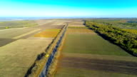 Aerial view of field and road video