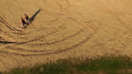 Aerial view of fighting of Wing Chun  on a sand between men video