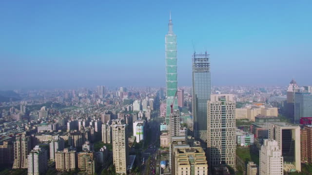 4K Aerial view of financial district in city of Taipei, Taiwan video
