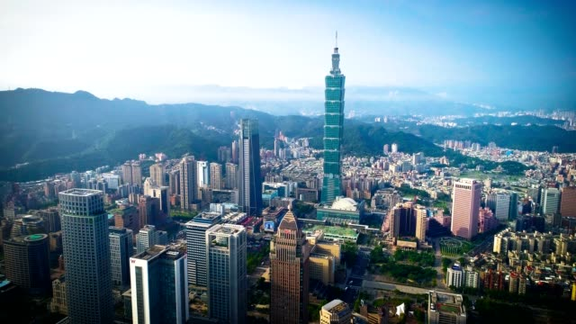 Aerial view of financial district in city of Taipei, Taiwan video