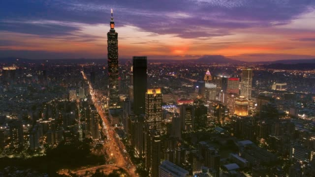 Aerial view of Financial district in Taipei at night, Taiwan video