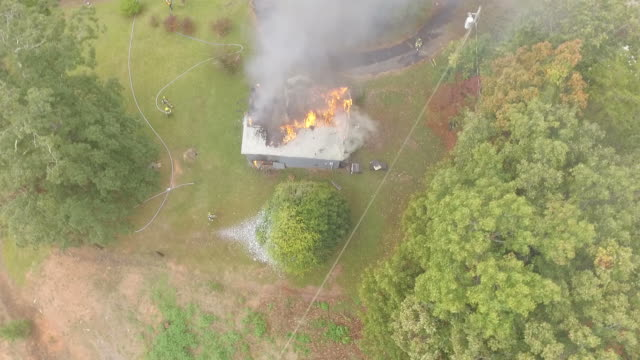 Aerial view of fire scene video