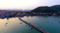 Aerial view of fisherman bay and tranquil sea in the morning video