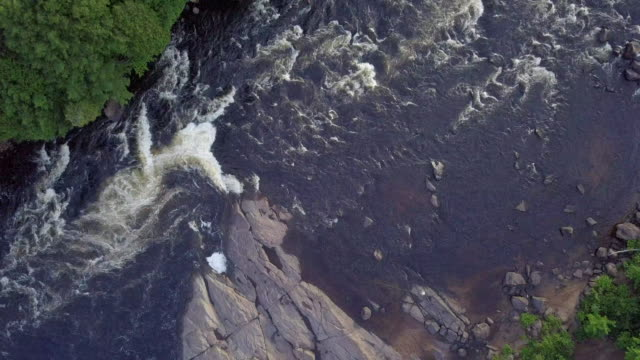 Aerial view of Fisherman Fly Fishing in River video