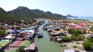 Aerial view of Fisherman village in pranburi, Thailand video