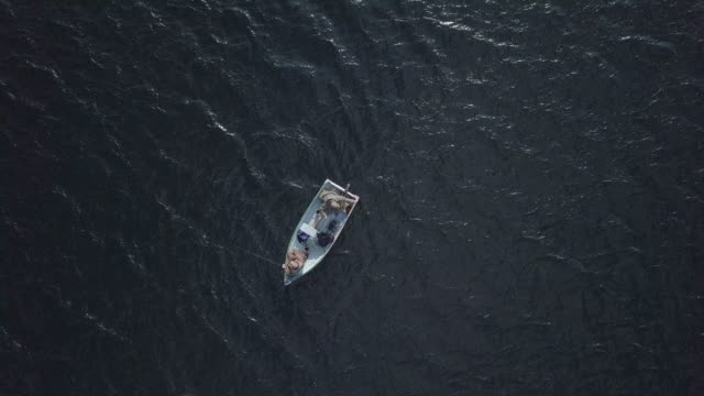 Aerial View of Fishermans Fishing From a Boat video
