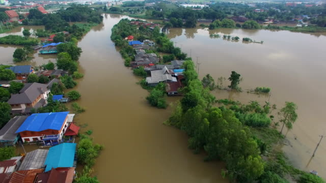 Aerial view of flood in Ayutthaya Province,Thailand video
