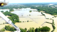 Aerial view of flooding river Sava video