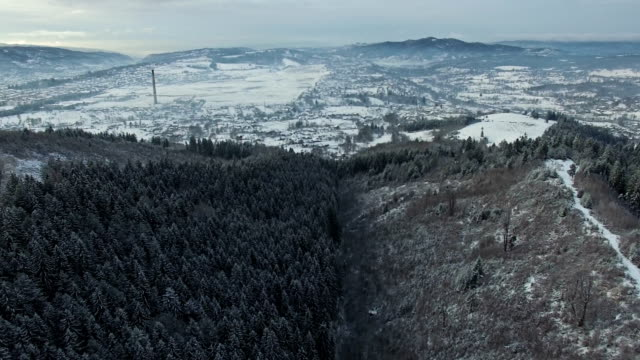 Aerial view of forest hills and countryside village in winter video