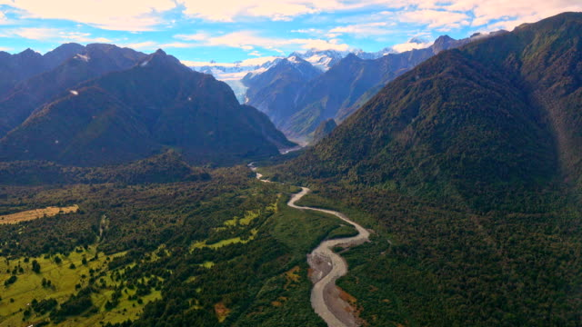Aerial view of Fox glaciers gap, Southern island, New Zealand video