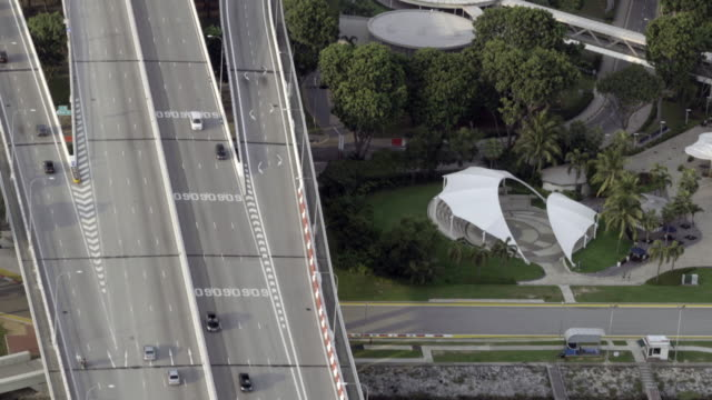 Aerial view of freeway traffic video