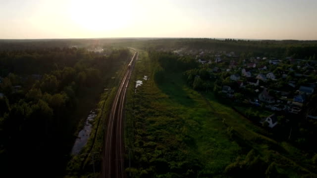 Aerial view of freight train in the country, Russia video
