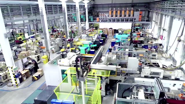 Aerial view of futuristic factory video