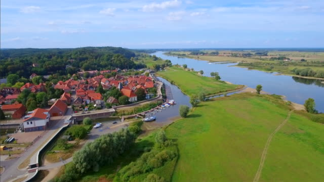 Aerial View of German town Hitzacker and River Elbe in Lower Saxony video