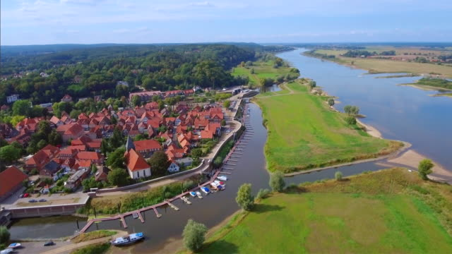 Aerial View of germany town Hitzacker and River Elbe in Lower Saxony video