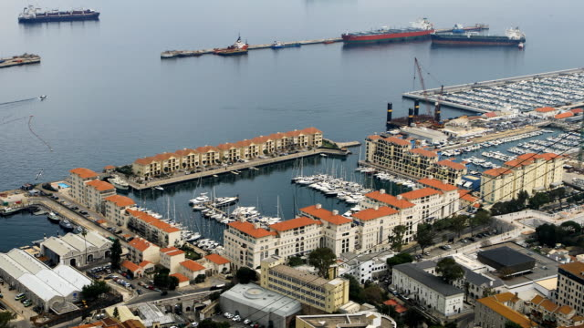 Aerial view of Gibraltar bay video