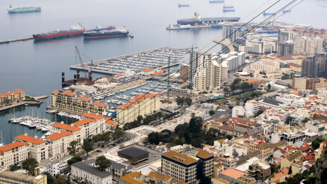 Aerial view of Gibraltar harbor video