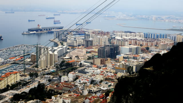 Aerial view of Gibraltar marina video