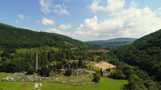 Aerial view of Glendalough ruins in Wicklow Ireland video