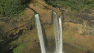 Aerial view of gorgeous waterfall in Hawaii video