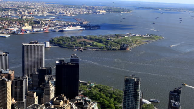 Aerial view of Governors Island off Manhattan video
