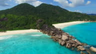 Aerial view of Grand Anse beac,  La Digue Island, Seychelles. video