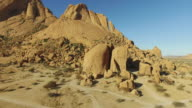 4K aerial view of granite peaks of the Spitzkoppe mountains video