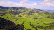 Aerial view of Green hills and valleys of the South Island, New Zealand video