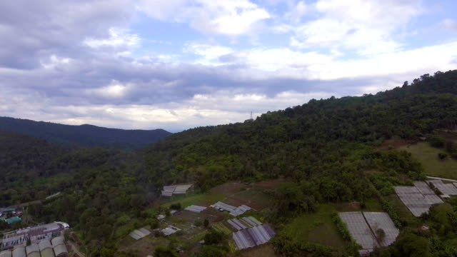 Aerial  view of Greenhouse and Farming in Rural Area on Mountain. video